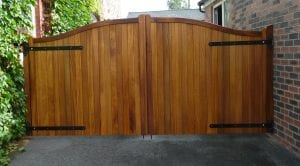 stained wooden double gate