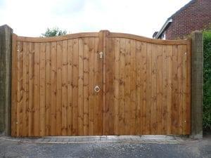 double dark wooden gate