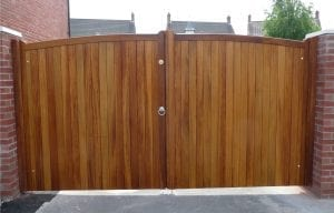 locked wooden double gate