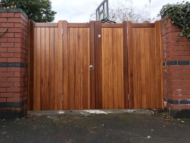 Bi-fold Iroko hardwood gates