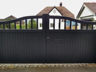 Chester design driveway gate in black finish