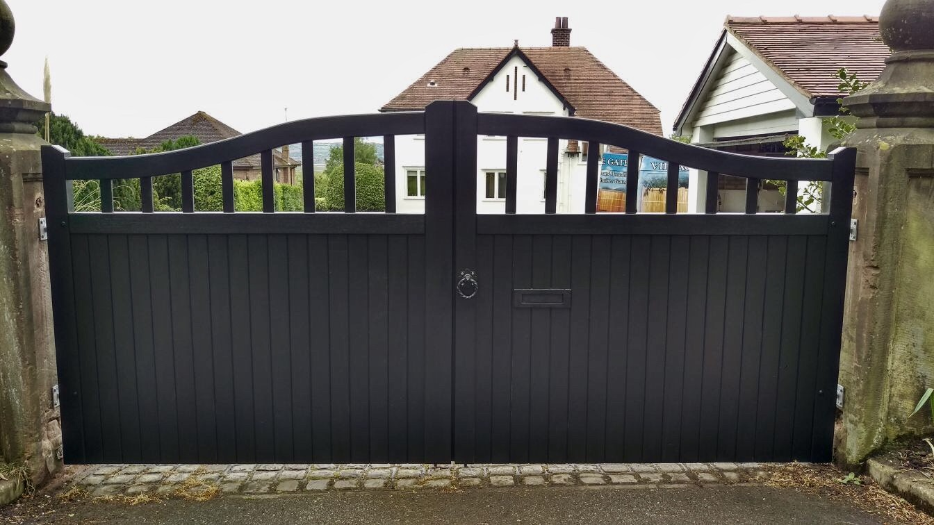 Chester design driveway gate in black finish