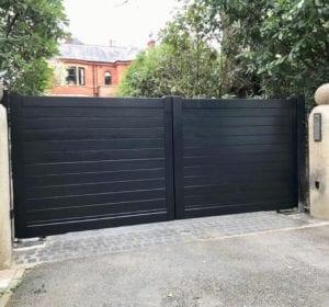 black wooden driveway gate