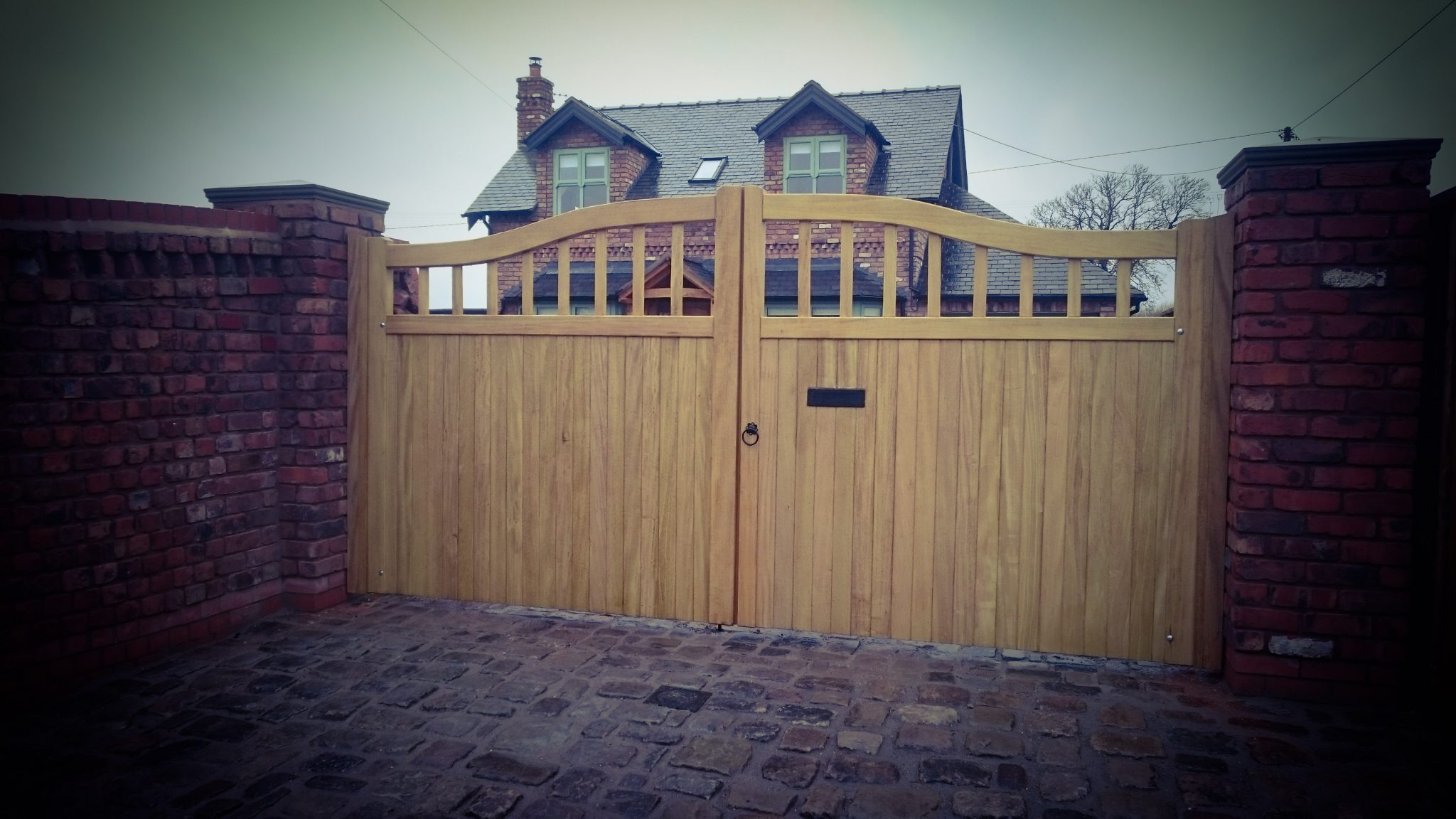 Idigbo Hardwood Chester Design Driveway Gates