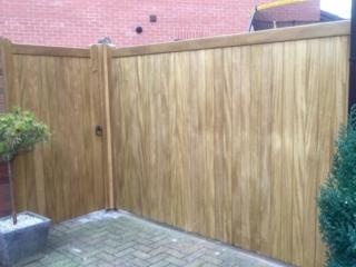 Idigbo hardwood village design style gate with panel in light oak