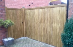 Idigbo hardwood village design style gate with panel in light oak