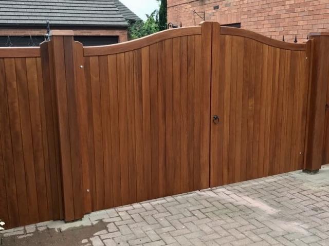 Iroko hardwood swan neck driveway gates