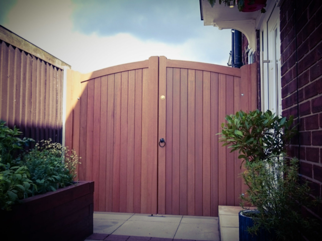 Meranti Hardwood Gate with light oak finish