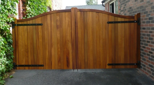 double wooden driveway gates