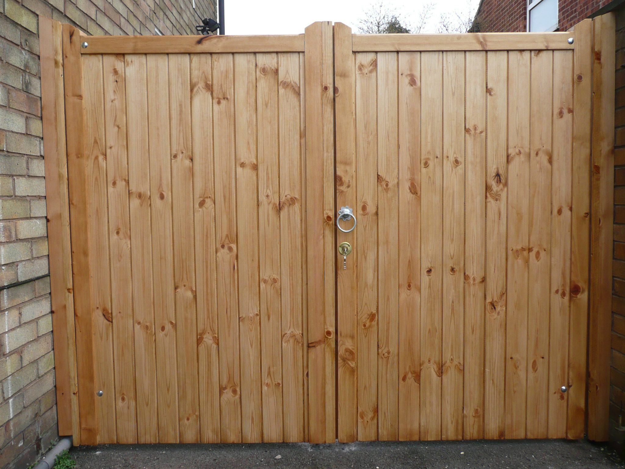 double wooden side gates
