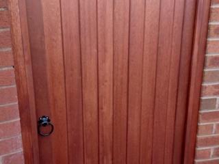 Meranti hardwood lymm style gate in mahogany
