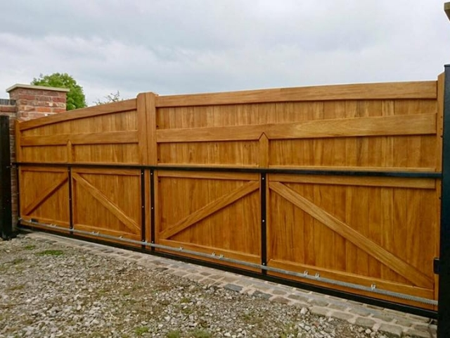 Electric Sliding Hardwood Driveway Gates in Lymm Style