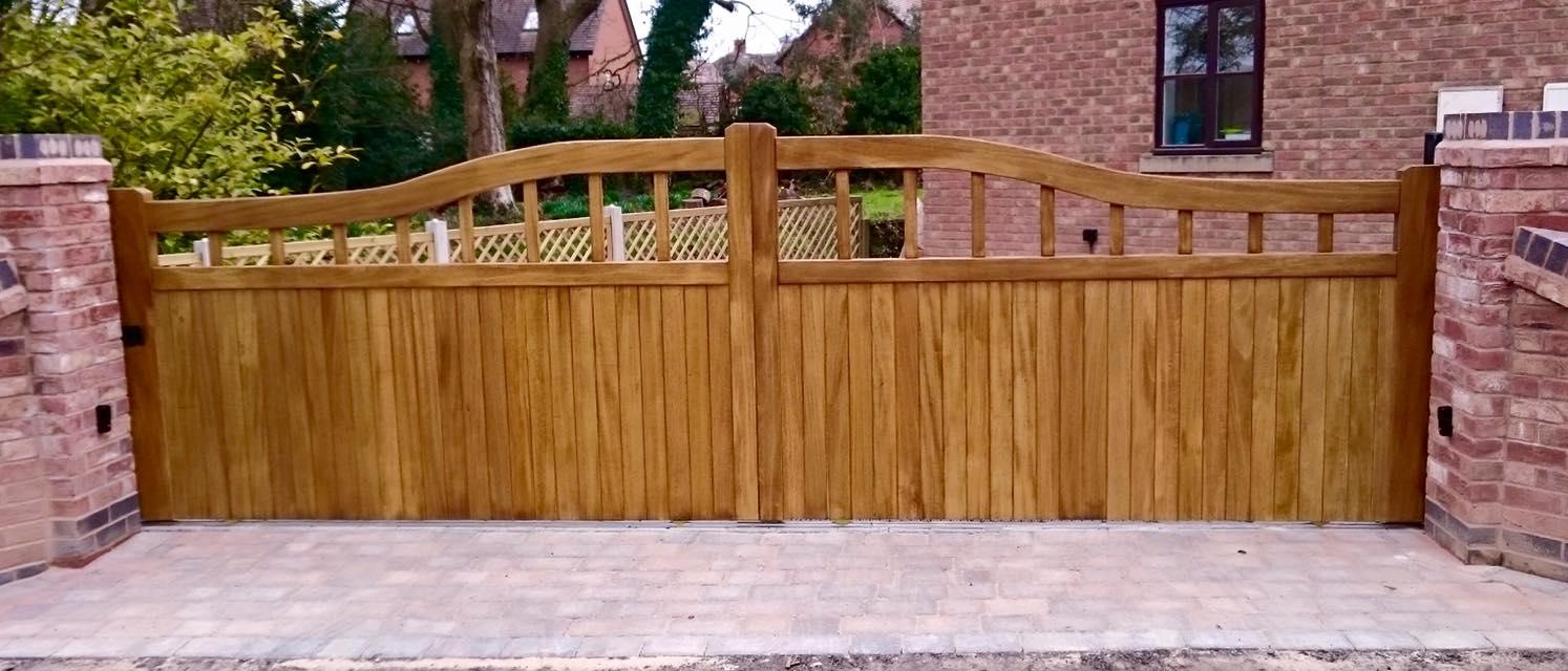 Idigbo hardwood low driveway gates